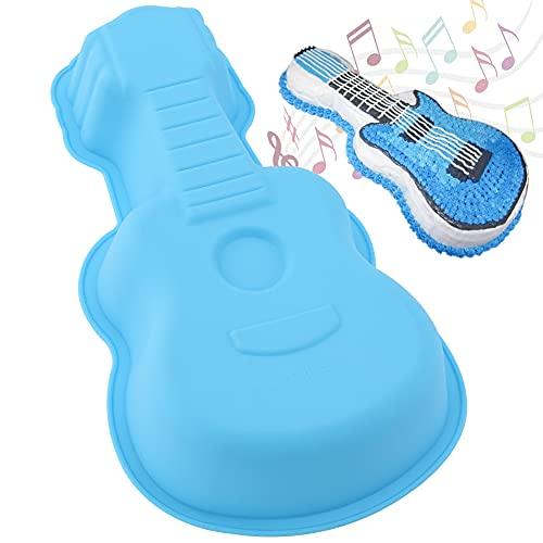 3D Silikon Kuchenform in Gitarrenform, Kuchenform Gitarre Form Backform, Gitarre formen Silikon-Backform, DIY Geburtstag Kuchenform, Backform für Gitarrenkuchen, Pudding, Schokolade, Gelee(Blau)