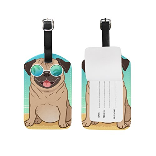 Silly smiling Pug baggage tag