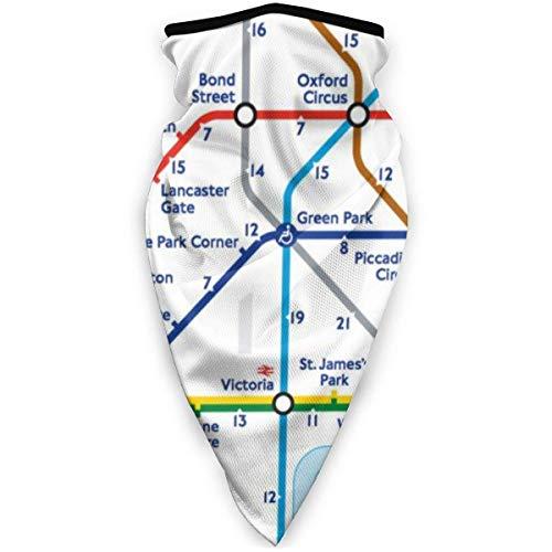 AISIJD Máscara de esquí con mapa de metro de Londres, para exteriores, resistente al viento, para...