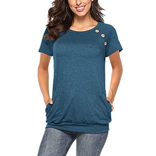 Camiseta Mujer Tops Mujer Verano Cómodo Suelto Cuello Redondo Manga Corta con Bolsillos Elegante Chic Dulce Vacaciones Casual Mujer Tops Mujer Blusa E-Navy XXL