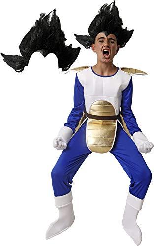 Gojoy shop- Disfraz de Saiyan Vegeta de Guerrero Z de Dragon Ball para Nio Carnaval (Contiene Mono con Peto y Cubrebotas y Guantes, 4 Tallas Diferentes) (10-12 aos)