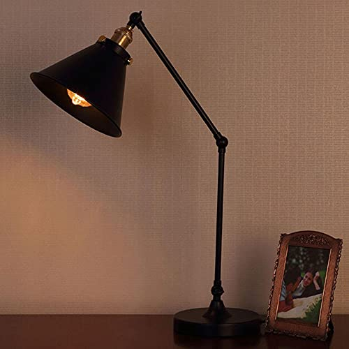 Zenghh Luz de la mesa   Lámpara de escritorio antigua industrial   3 articulaciones brazo oscilante para dirigir el foco de sombra ajustable directamente   Metal de hierro de acabado negro   Ideal par