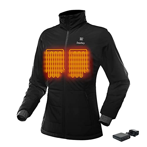 Smarkey 7.4v Women's Heated Jacket Winter Outdoor Coat With Battery and Charger (L, 1pcs 4400mAh Battery)