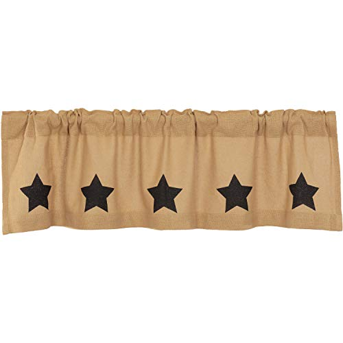 VHC Brands Country Kitchen Curtains Rod Pocket Stenciled Cotton Burlap Star 16x60 Valance, Burgundy Natural Tan