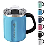 VOLCAROCK 16 oz Insulated Coffee Mug with Handle, 16oz Stainless Steel Togo Coffee Travel Mug with Lid, Reusable and Durable Double Wall Coffee Cup, Great for Office Home and Outdoor Use (Sky Blue)