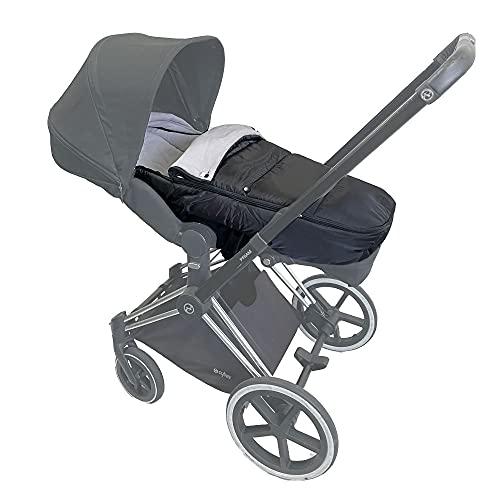 Kinderwagen Wasserabweisend Warmer Fußsack Kompatibel mit Cybex Priam & Mios Buggys, Universal Wintertasche Kinderwagen Zubehör (SCHWARZ)