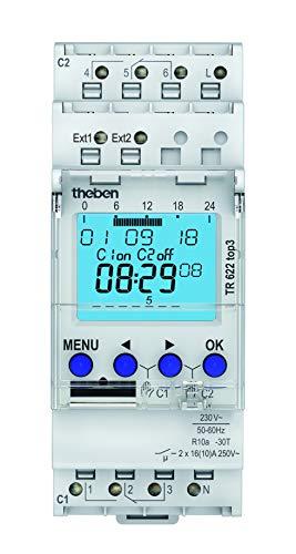Theben 6220130 - TR 622 top3 - Interruptores horarios digitales con programación semanal - Carril DIN