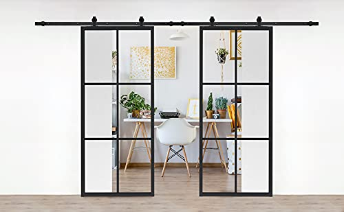 JUBEST Double Barn Door 72 x 84 in with 13FT Top-Mounted Hardware Kit, 2 Sets of 36x84 in Clear Tempered Glass Aluminum Frame Barn Door,Pocket Interior Door, Easy Assembly