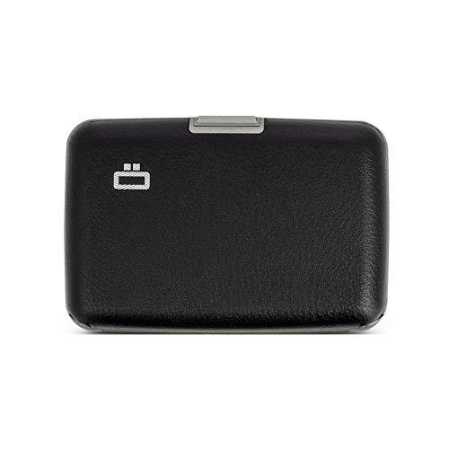 Ögon Smart Wallets - Cartera de aluminio Stockholm - Tarjetero RFID antirrobo - Capacidad 10 tarjetas y billetes - Cuero Vegano Negro