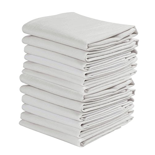KAF Home Set of 12 White Wrinkled Flour Sack Kitchen/Chef Towels, 100-Percent Cotton, Absorbent, Extra Soft (28 x 28-Inches)