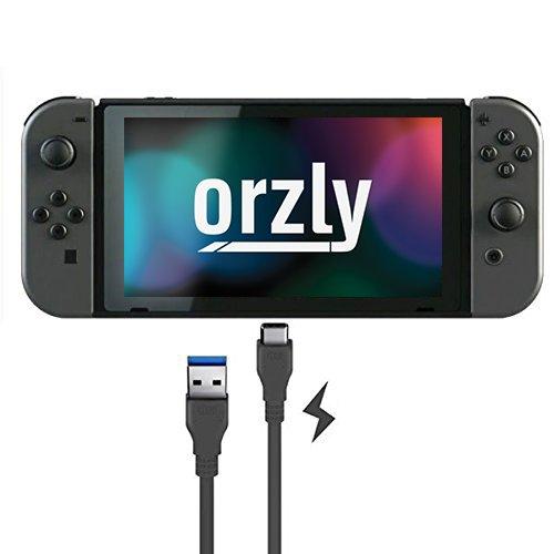 Orzly Typ C/USB C Aufladekabel kompatibel mit Nintendo Switch Game Pad – (USB Typ C auf Standard USB) - Schwarz – 1m Power Kabel für die Verwendung mit dem Nintendo Switch Tablet