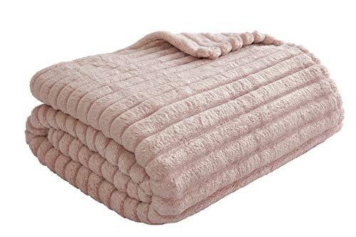 Sleepdown Manta de Forro Polar Acanalada con Purpurina para sofá, Supersuave, cálida, acogedora, 150 x 200 cm, poliéster, 150 x 200 cm