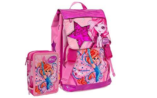 Schoolpack Mochila escolar Winx Club Bloom extensible + Estuche completo con 3 cremalleras