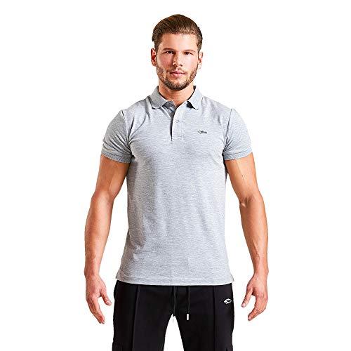 SMILODOX Herren Poloshirt 'Birdie' | Kurzarm | Casual Top | Klassisches Design | Funktionsshirt für Sport Fitness Gym | Trainingsshirt - Laufshirt - Sportshirt, Farbe:Grau, Größe:S