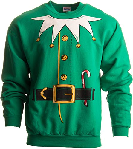 Santa's Elf Costume   Novelty Christmas Sweater, Holiday Crewneck Sweatshirt - (Crew,L) Green