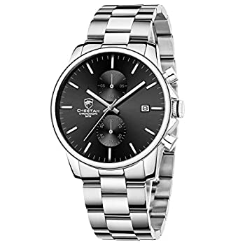 GOLDEN HOUR Men s Watches with Silver Stainless Steel and Metal Casual Waterproof Chronograph Quartz Watch Auto Date in Black Dial