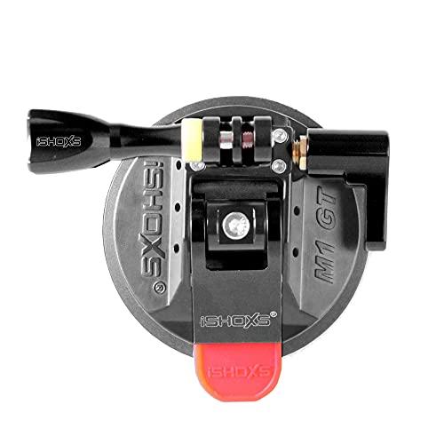 iSHOXS M1 GT, Profi Saugnapf aus Aluminium mit 3D/360 Grad Kugelaufnahme passend für GoPro und kompatible Actioncams - Schwarz, Membrane Schwarz