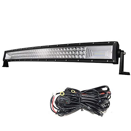 SKYWORLD 32 pulgadas 81cm 405W Barra de luz LED curva, DV 12V-24V Luces de remolque con foco de inundación de 3 filas Lámpara de conducción con kit de cableado para camión de rampa 4x4 Auto ATV UTV