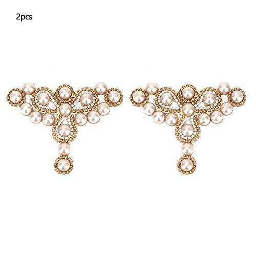 2 Piezas Crystal Apliques,Apliques de Perla Accesorios de Prendas de Vestir Unir con Pegamento o Cosiendo para Decorar Vestido de Novia,Zapatos,Bolsa,Cuello,Sombreros(05)