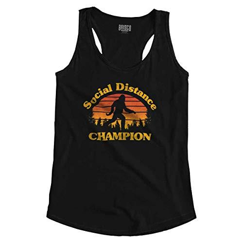 Bigfoot Social Distancing Champ Funny Quarantine Racerback Tank Top Black