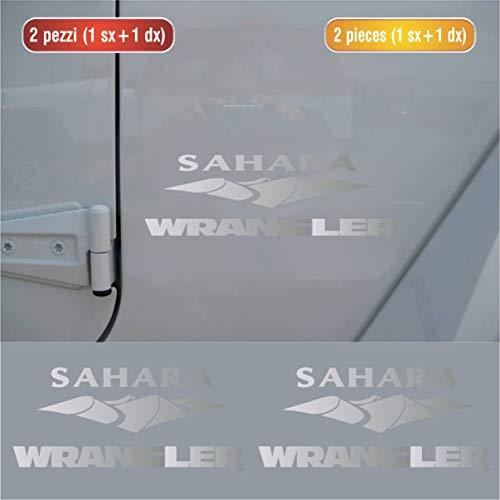 Aufkleber-Set für Seitensticker, kompatibel mit Jeep Wrangler Sahara, Set Nr. 4, Auto Tuning Sticker, Farbe wählbar, Code 1365 (090 Silber, glänzend (Glossy_Lucid_Glanz_Reinigung))
