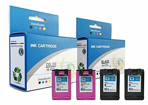 alleda Cartucho de tinta remanufacturado para HP 62XL | 3 x más contenido | garantía de devolución de dinero | para HP Deskjet Officejet Envy (juego de 4 cartuchos)