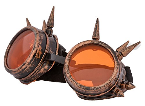 4sold (TM) Steam Punk Antique Copper Cyber Goggles Rave Goth Vintage Victorian–Gafas estilo gótico vintage. copper studs Medium