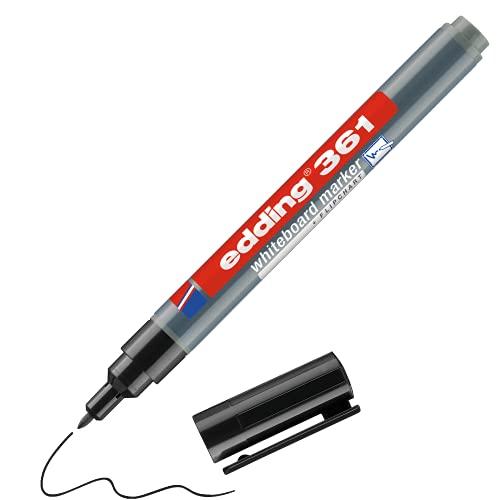 edding 361 Whiteboardmarker - schwarz - 1 Whiteboard Stift - R&spitze 1 mm - Boardmarker abwischbar - für Whiteboard, Flipchart, Magnettafel, Pinnwand, Memoboard - Sketchnotes - nachfüllbar