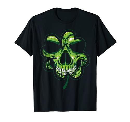 Día de San Patricio Shamrock envejecido Clover Biker Skull Camiseta
