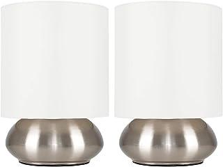 MiniSun – Set de 2 Modernas Lámparas de Mesa Táctiles – Base Curvada con Pantalla de Color Crema – Mesas o Mesillas de noc...