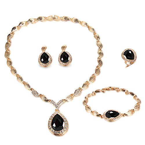 Black Jewelry Sets for Women Teardrop Crystal Rhinestone Statement Necklace Earring Set Bridal Halloween Jewelry Accessories