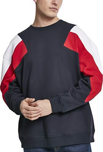 Urban Classics Herren Pullover Oversize 3-Tone Crew, Mehrfarbig (Navy/White/Fire Red 01243), Large (Herstellergröße: M)