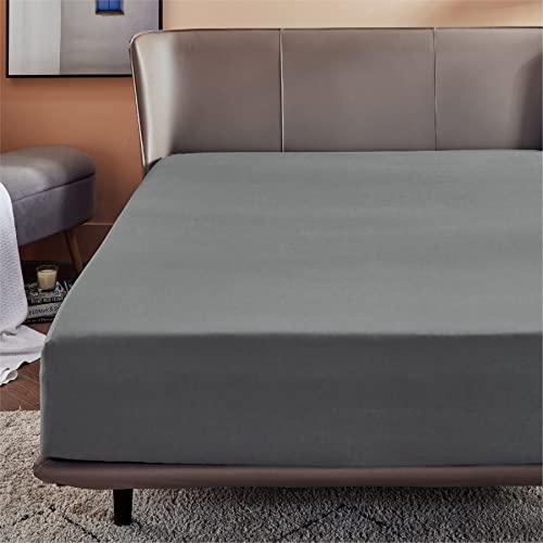 BEDSURE Spannbettlaken 160x200cm Boxspringbett Topper - Mikrofaser Bettlaken 160x200 cm grau für Matratze bis 30 cm hohe, weiches Spannbetttuch Leintuch
