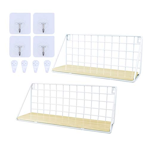 ORIGA Wall Mounted Floating Shelves,Wood Floating Shelves Rustic Metal Wire Display Racks Home Decor Wall shelve for Living Room,Office,Bathroom,Kitchen (2pcs,White)