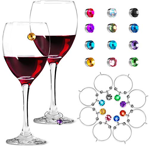 12 Pieces Crystal Magnetic Glass Charm Magnetic Drink Markers 8 Pieces Wine Glass Charm Wine Glass Rings Tags for Goblet, Champagne Flutes Cocktails Martinis