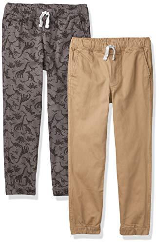 Amazon Essentials Pull-on Woven Jogger Pants, 2 Stück, graues Dino/Khaki, EU 146-152 cm