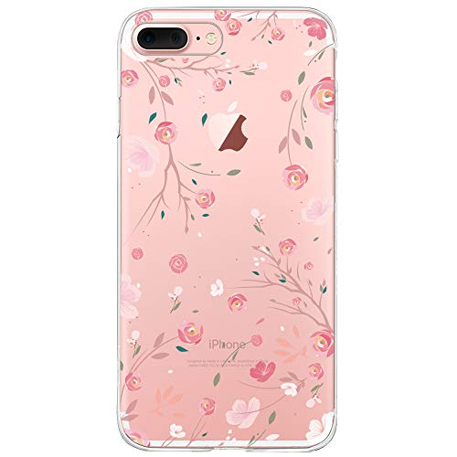 Oveo® Coque iPhone 7 Plus / 8 Plus, Série Dolce Vita Housse Etui Silicone Transparente pour Fille/Femme, avec motif Fleur Rose