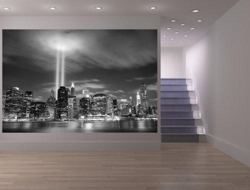Bilderdepot24 Fotomural Nueva York (Manhattan) en la Noche - Estados Unidos - Negro Blanco 75x50 cm - Papel Tejido-no Tejido. Fotomurales - Papel Pintado - la fabricación Made in Germany!
