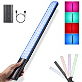 Soonpho P20 RGB LED Video Light Wand Handheld Fill Light Photography LED Light Stick, Stepless Dimming, CRI≥97, 2500-8500K, 12 Lighting Mode, with F750 Battery(USB Type-C Input Port)