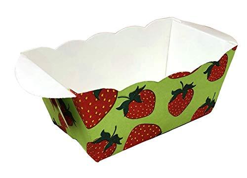 Demmler Papierbackform Set, Einweg Mini Kastenform, Mini-Backform aus Papier (20x Erdbeere)