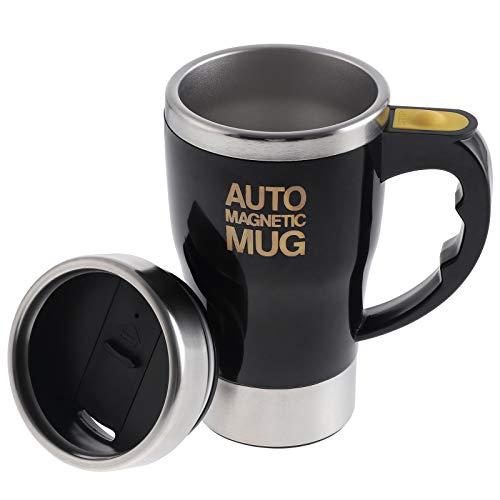 Elektrischer selbstrührender Kaffeebecher, Edelstahl, automatisch, magnetisch, selbstmischend, für Kaffee, Tee, Kakao, Milch, 320 ml (schwarz)