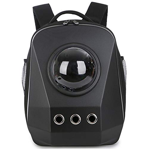 Kaper Go Mochila for Mascotas Negra Perro Gato Mochila Impermeable Bolso de Viaje al Aire Libre portátil cápsula Espacio ventilación