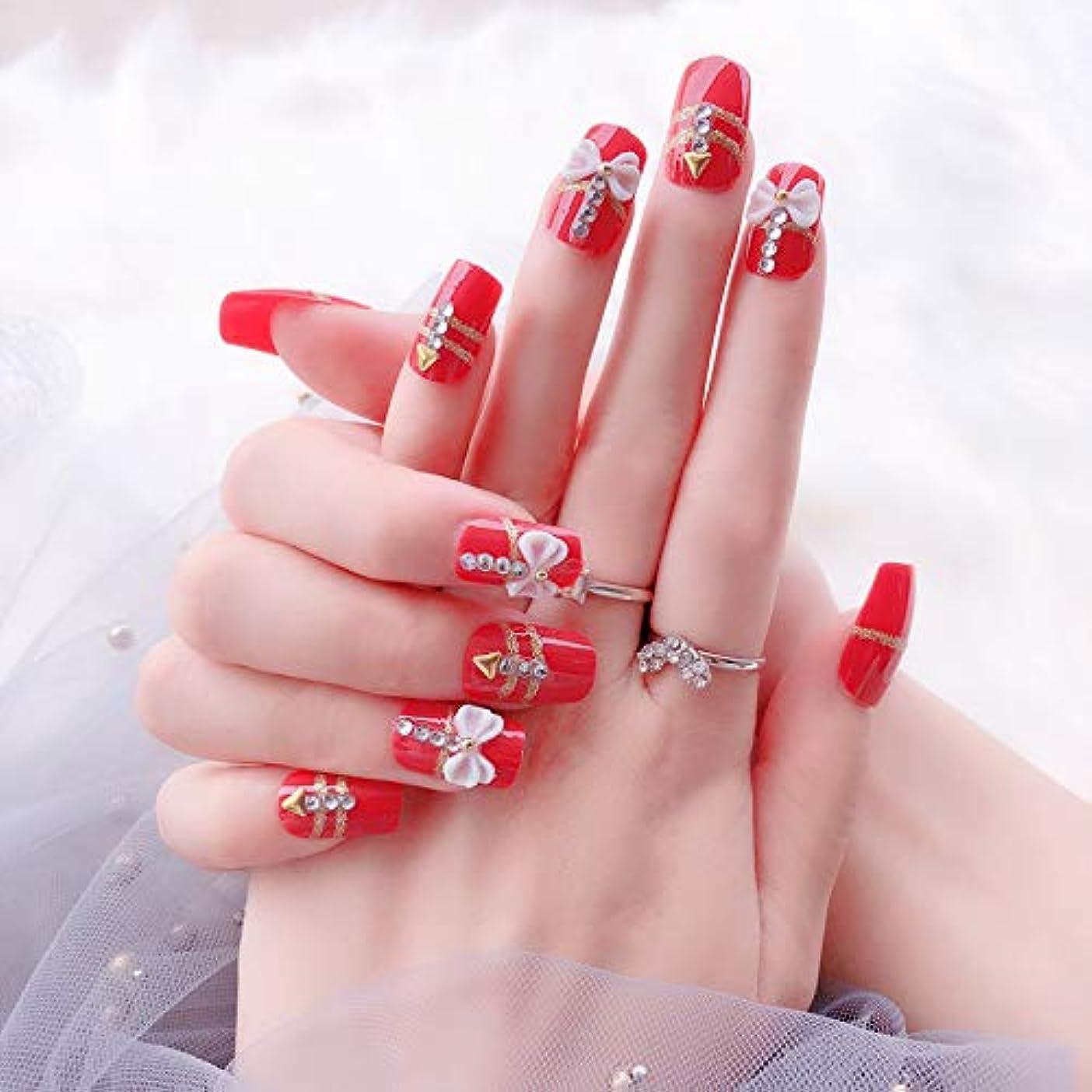 針サイレント置換花嫁ネイル 手作りネイルチップ 和装 ネイル 24枚入 結婚式、パーティー、二次会など 可愛い優雅ネイル 蝶の飾り付け (レッド)