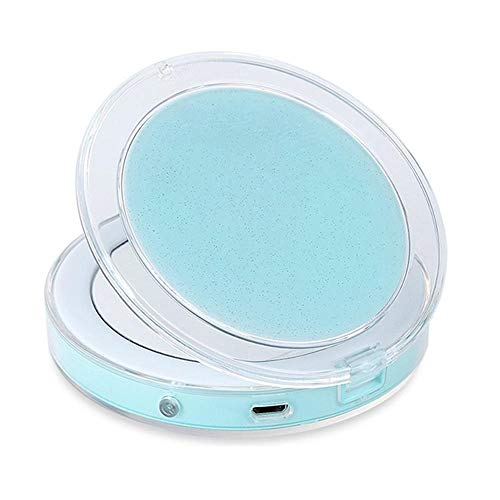 Plushfarm Mini vanity mirror, portable compact pocket portable rechargeable foldable cosmetic mirror makeup tool with light double-sided (Color : Rose Gold)