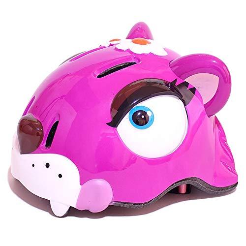 FEIYI Cascos de ciclismo para niños de dibujos animados casco de bicicleta de carretera de seguridad para niños, polea de cocodrilo, niños, niñas, patinaje, carreras (color: rosa, tamaño: M 54 56 cm)