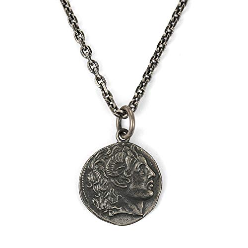 Sterling Silver Retro Oude Alexander Ancient Greek Silver Coin Ketting Heren Zilveren Ronde hanger Man Opknoping Chain Tide,60cm