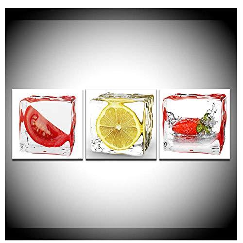 kaxiou Tomaat Citroen Aardbei In Rijst Abstract Schilderen Moderne Modulaire Wandposter Nordic Canvas Schilderij Home Decor-30X30Cmx3 Stks Geen Frame