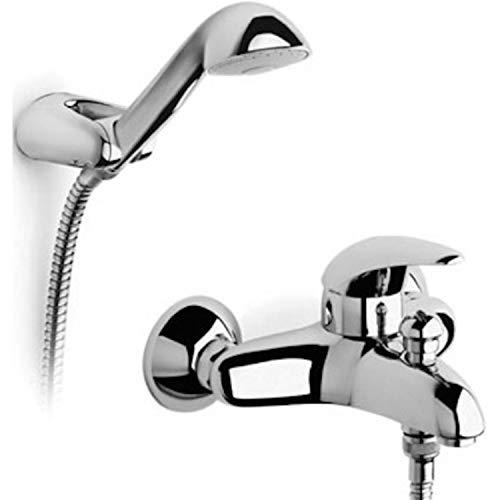 Mezclador grifo de ducha o baño de pared de 1/2 pulgada con manguera flexible de 1,5 metros, auricular y soporte giratorio, 18 x 11 x 5 centímetros, color cromado (Referencia: 5A0148C00)