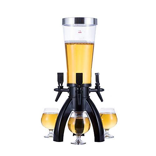 MOMIN Mini Conjunto de dispensadores de Cerveza artesana Torre dispensador de la Cerveza Kit con 3 grifos Drink Dispenser for Las Partes para la Fiesta (Color : Black, Size : 17x57cm)