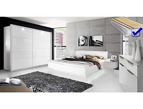expendio Schlafzimmer Sophie 21D weiß teilweise Hochglanz Doppelbett mit 2X Nako Lattenrost Matratze Schwebetürenschrank Kommode